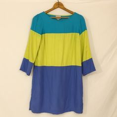 """MAEVE brightblock shift rayon Color block FLAW *altered length* 32"""" could also be worn as a tunic top  Photo 3 shows a faint color bleed at right arm, near under arm area. Otherwise, minimal wash wear with no rips, stains, flaws etc.   bust 34""""  waist 34""""  hip 38""""  length 32"""" Anthropologie Dresses Mini"""