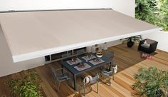 Awnings for garden Pool Shade, Outdoor Awnings, Minimalist Apartment, Pergola With Roof, Outside Living, Home Upgrades, Terrazzo, Backyard Patio, Home Renovation