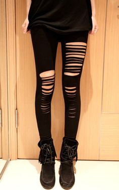 shredded leggings| $3.67  nu goth punk grunge goth street fashion fachin leggings bottoms under10 under20 under30 sammydress
