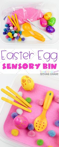 If you need something for the kids to do this Easter Sensory Bin is perfect. Easy set up that provides tons of imaginary and creative play. Sensory Activities For Preschoolers, Tactile Activities, Childcare Activities, Easter Activities For Kids, Easter Crafts For Kids, Holiday Activities, Easter Ideas, Sensory Bins, Sensory Play