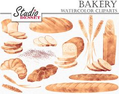 Bread Cliparts, Watercolor Clipart, Bakery Wheat, Croissant, Baguette, Digital Clip Art, Food Clipart, Printable Bread Illustrations C311 by StudioDesset on Etsy