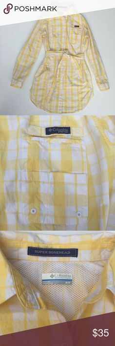 Columbia PFG Gingham Dress Yellow Gingham PFG dress by Columbia. Roll sleeves, pockets, vents, belt, and Omni-Shade (sun protection). Excellent condition save a small mark on sleeve & tiny tear on inner lining (noted in last 2 pics).  •lowball offers declined •no trades •ask all questions before buying •unfair ratings from buyers are reported & buyer will be blocked - I don't misrepresent my products; what you see is what you get & my prices are way more than fair. Please be kind as I always…