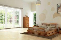 chambre à coucher zen avec lit en bois