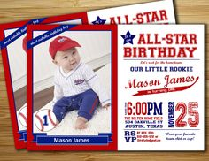Baseball Birthday Party Invitation / invite - Personalized DIY Baseball birthday party printable. $18.00, via Etsy.