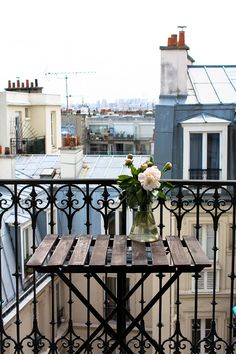 Paris Photography, Spring in the Paris Apartment, Pink Peony on the Paris Balcony,  Pink, Montmartre, Spring in Paris, flower decor by rebeccaplotnick on Etsy