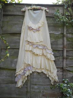 RITANOTIARA OSFA Long Cotton & Silk Voile Tank Dress / Top Romantic Lagenlook Art to Wear Layering. £80.00, via Etsy.