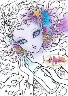 Digital Stamp - Mermaid's Wish - Message in a Bottle - digistamp - Big Eye…