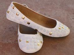 White Studs on White Flats Shoe Makeover