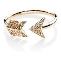 Diamond Arrow Ring by EF Collection (1.960 BRL) ❤ liked on Polyvore featuring jewelry, rings, yellow jewelry, 14k jewelry, geometric jewelry, diamond jewellery and 14 karat white gold ring