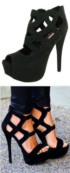 Black Cutout Heels ♥ L.O.V.E.