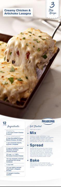 Creamy Chicken & Artichoke Lasagna with Philly cream cheese