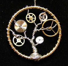 clockwork tree steampunk pendant by ylfdragon on Etsy, $20.00
