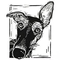 Whippet - Linocut Print - Folksy More