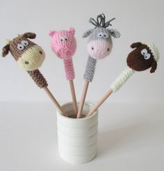 Knitting Pattern for Farmyard Pencil Toppers - Patterns for horse, cow, pig and sheep pencil toppers by Amanda Berry. Great stash busters for scrap yarn.  Get with other farm animal patterns at http://intheloopknitting.com/farm-animal-knitting-patterns/  Or go directly to the pattern on Etsy http://www.awin1.com/cread.php?awinaffid=234273&awinmid=6220&p=https%3A%2F%2Fwww.etsy.com%2Flisting%2F262643363%2Ffarmyard-pencil-toppers-toy-knitting