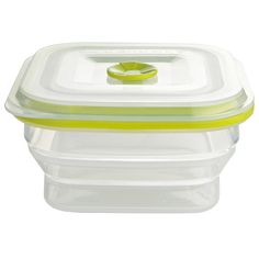 "Silicone based 500ml Square container Incredibly, these 100% silicone boxes can go straight from the fridge or freezer to the microwave or oven for reheating without removing the lid – just pull up the valve and they're ready to go. 13cm sq. x 7cm H. (5"" x 2¾"").    Cat/Ref:09212"