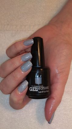 Jessica GELeration Sky High with Wedding Band glitter on top. Created by The Tanning Bar.