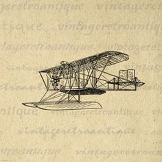 Printable Seaplane Image Digital Antique Plane Download Vintage Airplane Graphic Clip Art. High resolution digital image illustration for printing, transfers, tea towels, t-shirts, tote bags, pillows, and other great uses. For personal or commercial use. This graphic is high quality, large at 8½ x 11 inches. Transparent background version included with every graphic.
