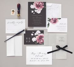 Botanical and marble wedding invitations by Rachel Marvin Creative