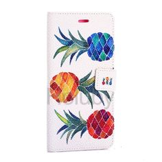 Pearl Pattern Wallet Magnetic Flip Stand TPU + PU Leather Case for Samsung Galaxy S6 Edge Plus - Pineapples