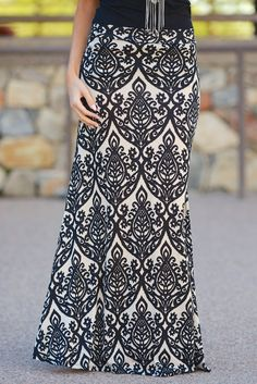 Damask Maxi Skirt - Black/Taupe (S to 3XL)