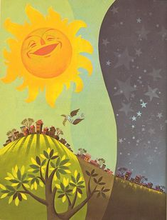 Music 'round the Clock. Illustration by Val Samuelson, 1955 Sun Illustration, Graphic Design Illustration, Bunny Drawing, Good Day Sunshine, Sun Art, Sun And Stars, Vincent Van Gogh, Mellow Yellow, Illustrations Posters
