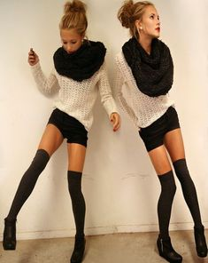 scarf, sweater, over the knee socks, messy bun? YES if only I had the body to pull it off