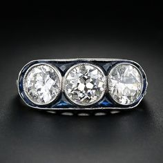 Art Deco Three Stone Diamond and Sapphire Ring