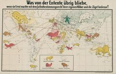 German Propaganda Map Showing the Allies' Colonial Empires (from ca 1916)