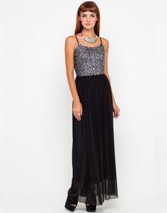 Buy Motel Caramel Metallic Sequin Top Maxi Dress at Motel Rocks