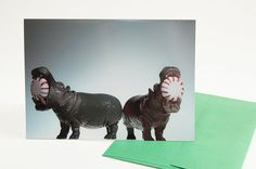 Funny Christmas Card Hippos and Peppermints by TheMemorableImage, $5.00