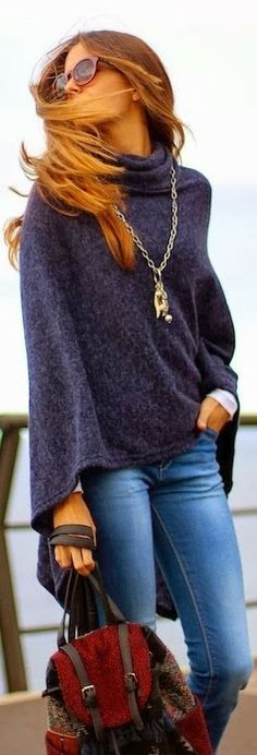 Cozy Blue Sweater With Casual Jeans and Handbag.... #fall #style