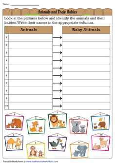Writing the Names of Animals and Their Babies Pet Names, Printable Worksheets, Baby Animals, Babies, Writing, Study, Names Of Animals, Babys, Baby Pets
