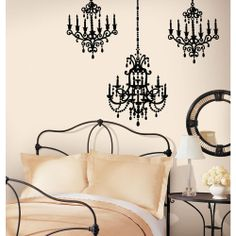 Snap 39.75 in. x 17.125 in. Black Chandelier Wall Decal-WC1286270 at The Home Depot