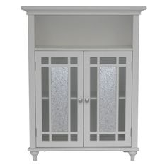 Elegant Home Windsor White Bathroom Double Door Floor Cabinet The
