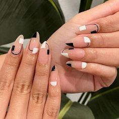 Almond Acrylic Nails, White Almond Nails, Black Acrylic Nails, Best Acrylic Nails, Spring Nail Art, Nail Designs Spring, Spring Nails, Nail Art Designs, Thin Nails