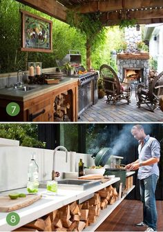 Outdoor cooking station with built-in grill or stove and kitchen counter is one. Outdoor cooking station with built-in grill or stove and kitchen counter is one of cool backyard pavilion ideas Simple Outdoor Kitchen, Outdoor Kitchen Design, Rustic Outdoor Kitchens, Big Green Egg Outdoor Kitchen, Rustic Deck, Design Kitchen, Backyard Pavilion, Backyard Patio, Backyard Kitchen