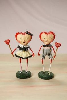 ESC Trading Lori Mitchell Sweethearts Figures Valentine's Day Folk Art NEW