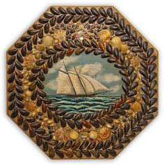 """Octagon Table-Top Sailor's Valentine.    Shell encrusted octagon table top with later painting of two-masted schooner by Gael Ryan.  Oil on Pine with original Shells  Northeast, c.1940   29"""" x 29""""."""