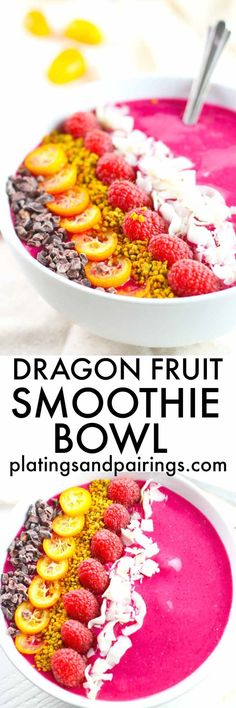 Breakfast never looked so good! This vibrant Dragon Fruit (Pitaya) Smoothie Bowl is a perfect, healthy way to start the day. | platingsandpairings.com #weightlossbeforeandafter