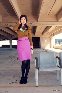 Leopard belt+Purple skirt+Large Statement Necklace=Original gorgeous look! Hot Pink Skirt, Pink Pencil Skirt, Purple Skirt, Fashion 101, Daily Fashion, Work Wear Office, Cool Style, My Style, Cute Outfits