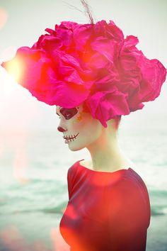 Halloween Day of the Dead Dia de los Muertos skull makeup face paint rose pink grey Dead Makeup, Crazy Makeup, Makeup Art, Fun Makeup, Awesome Makeup, Maquillage Halloween, Halloween Makeup, Halloween Costumes, Halloween 2013
