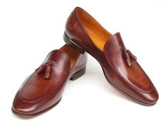 Paul Parkman Men's Tassel Loafer Brown Hand Painted Leather (ID