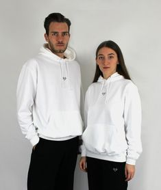 He's Her Lobster Embroidered Centre Chest Logo. Hood with Drawcords, Front Pocket, Ribbed Cuffs and Hem, Regular Fit. White with Black Detail. Plain White T Shirt, White Hoodie, Unisex Fashion, Fashion Brand, Hes Her Lobster, Black Joggers, Unisex Style, Matching Outfits, Hoodies