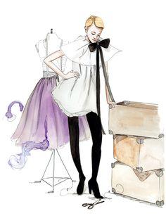 Fashion illustration of a fashion designer thinking about her purple dress