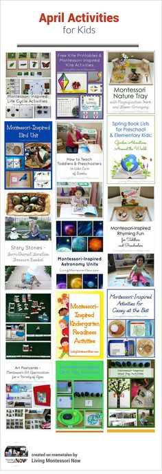 LOTS of themed activities that can be used for calendar observances throughout April . Montessori-inspired activities for a variety of ages; perfect for home or classroom! Calendar Activities, Spring Activities, Activities For Kids, Daycare Curriculum, Kindergarten Readiness, Childcare, Montessori Theory, Montessori Activities, Kids Sprinkler