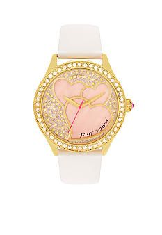 Betsey Johnson Watch with Heart Graphic Dial and White Leather Strap #belk #accessories