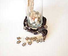 Cream Crochet Flowers Oya Dark Brown Silk Necklace Beaded Jewelry Foulard Scarf, Beadwork, Crochet ReddApple, Gift Ideas for Her on Etsy, $40.14 CAD