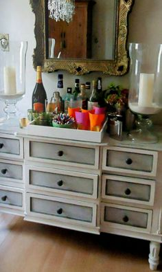 painted gray and white dresser - two toned