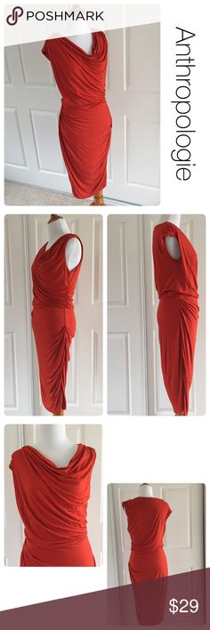 Anthropologie rust colored dress size M ♦️ No stains or holes. Some piling as pictured  ♦️materials- tag is missing but I think it's a rayon/cotton and spandex blend  ♦️Measurements: ♦️Underarm to underarm flat across is approximately 17 inches     ♦️Back of neck to bottom of front hem is approximately 42 inches Anthropologie Dresses Midi