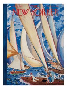 The New Yorker Cover - July 1949 Premium Giclee Print by Garrett Price New Yorker Covers, The New Yorker, Sailing Regatta, Small Sailboats, Boat Fashion, Vogue, July 9th, Ocean Art, Magazine Art